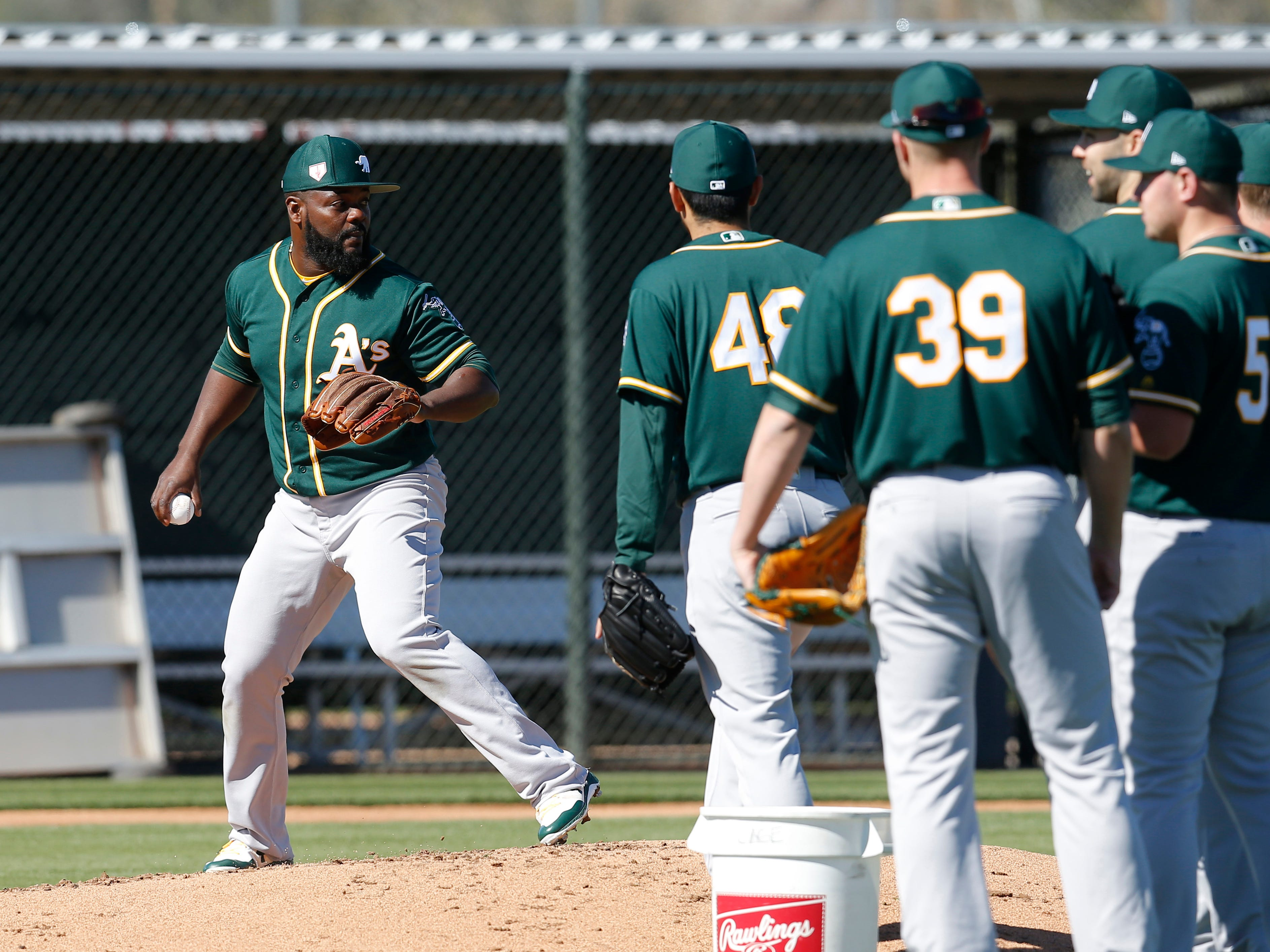 Feb 11: Athletics relief pitcher Fernando Rodney leads drills during spring training.