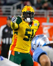 Arizona Hotshots linebacker Edmond Robinson during the second half of Sunday's 38-22 win over the Salt Lake Stallions.