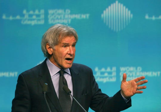 Harrison Ford speaks about ocean conservation at the World Government Summit in Dubai, United Arab Emirates, Feb. 12, 2019.