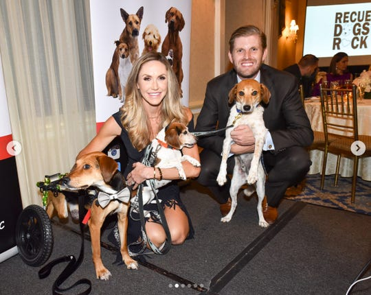 Lara Trump with husband Eric Trump at a benefit in October for Rescue Dogs Rock NYC.