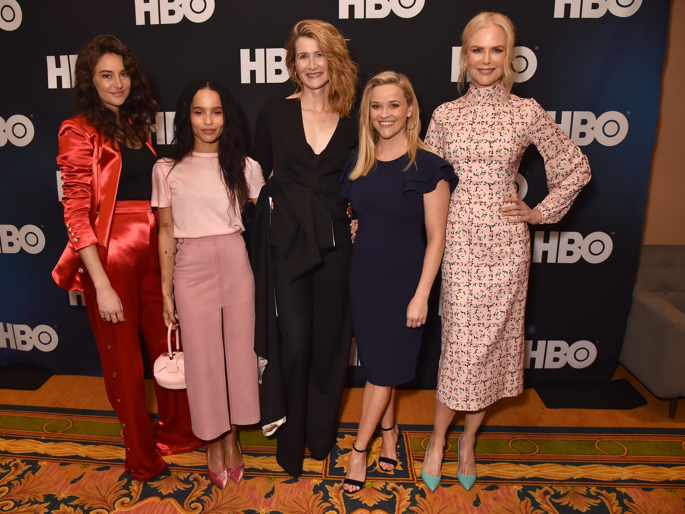 "The ladies of ""Big Little Lies"" reunite to promote the show's second season Feb. 8, 2019, at the Television Critics Association's winter  press tour in Los Angeles. (From left: Shailene Woodley, Zoe Kravitz, Laura Dern, Reese Witherspoon and Nicole Kidman)"