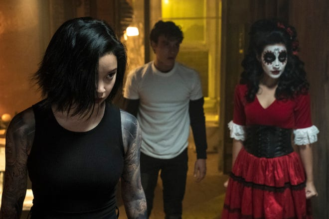 "Lana Condor (far left), Benjamin Wadsworth and Maia Gabriela de Faria are student assassins-in-training in ""Deadly Class."""