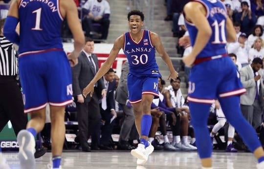Kansas Jayhawks guard Ochai Agbaji (30) reacts during the second half against the TCU Horned Frogs at Ed and Rae Schollmaier Arena.