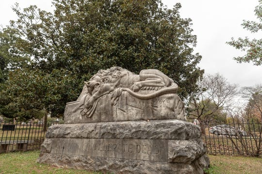 The Lion of the Confederacy is located at Oakland Cemetery, where deceased Confederate soldiers are buried.