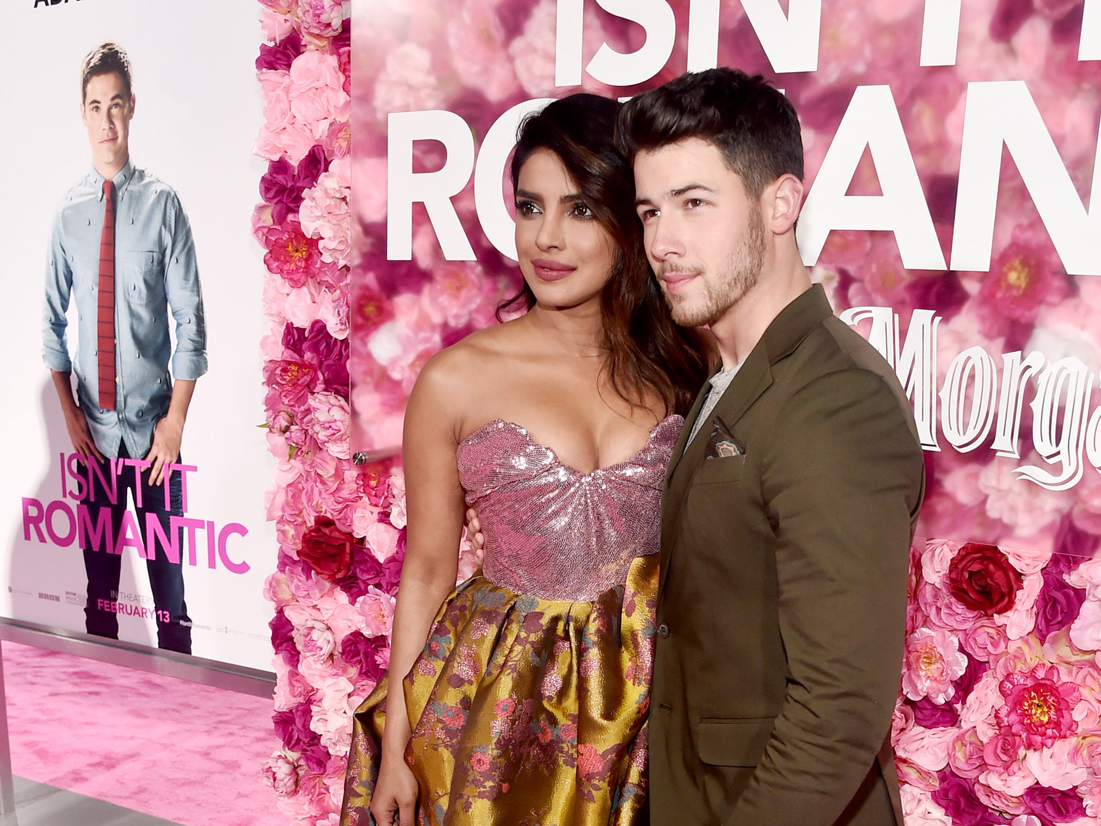 "LOS ANGELES, CALIFORNIA - FEBRUARY 11: (L-R) Priyanka Chopra and  Nick Jonas attend the premiere of Warner Bros. Pictures' ""Isn't It Romantic"" at The Theatre at Ace Hotel on February 11, 2019 in Los Angeles, California. (Photo by Alberto E. Rodriguez/Getty Images) ORG XMIT: 775292839 ORIG FILE ID: 1129043356"