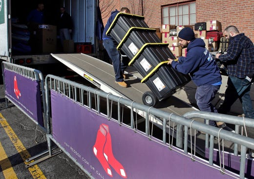Feb. 4: Workers load equipment onto the Red Sox's truck outside Fenway Park headed to Fort Myers, Fla.