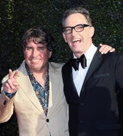 Tom Kenny, right, who voices SpongeBob SquarePants, attends Daytime Emmy ceremony with the Nickelodeon cartoon's creator, Stephen Hillenburg. Hillenburg died last year.