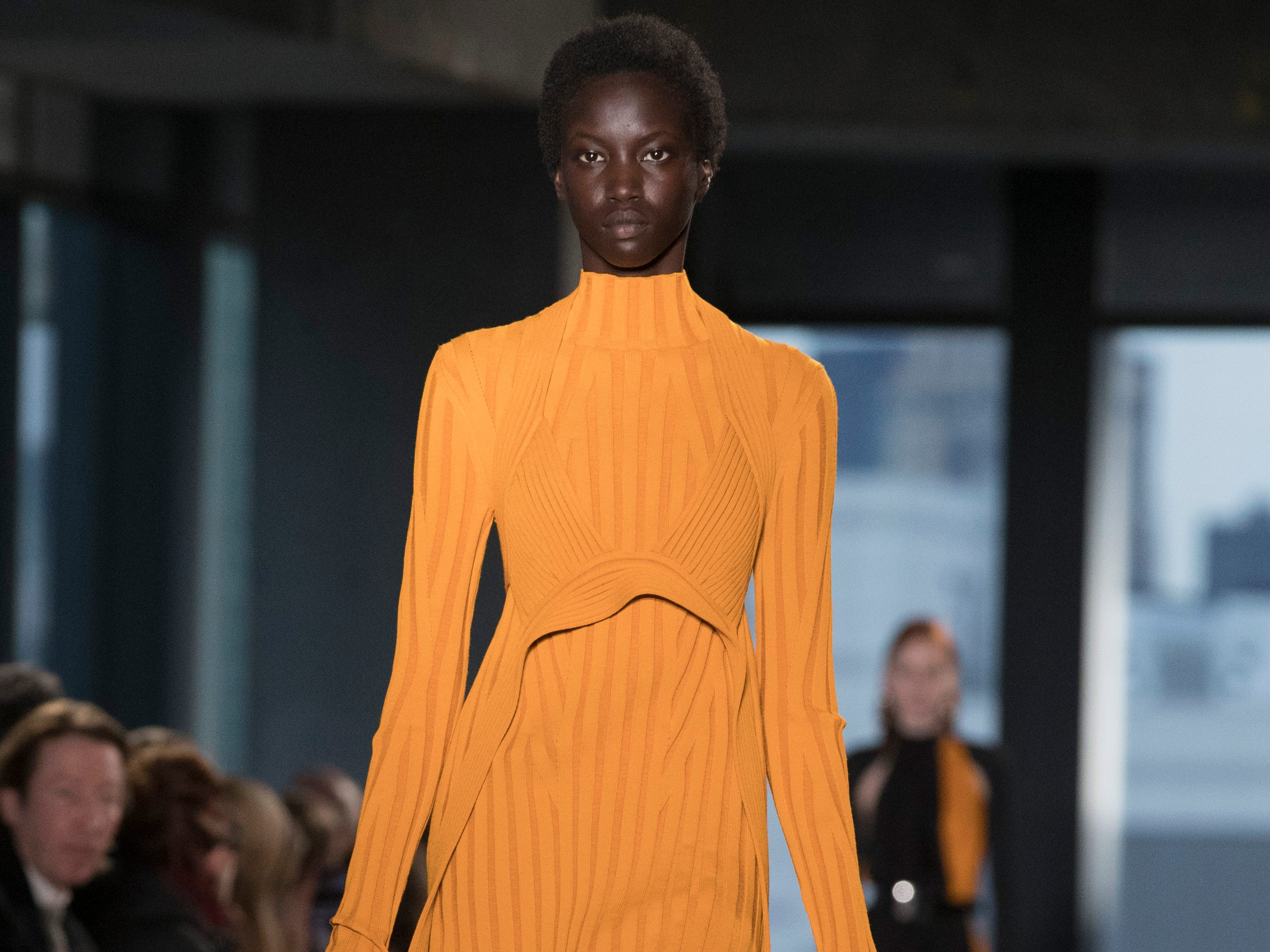 This ribbed Proenza Schouler sweater dress kept to the high-necked, long-sleeved theme but injected color and a bikini-style bodice detail.