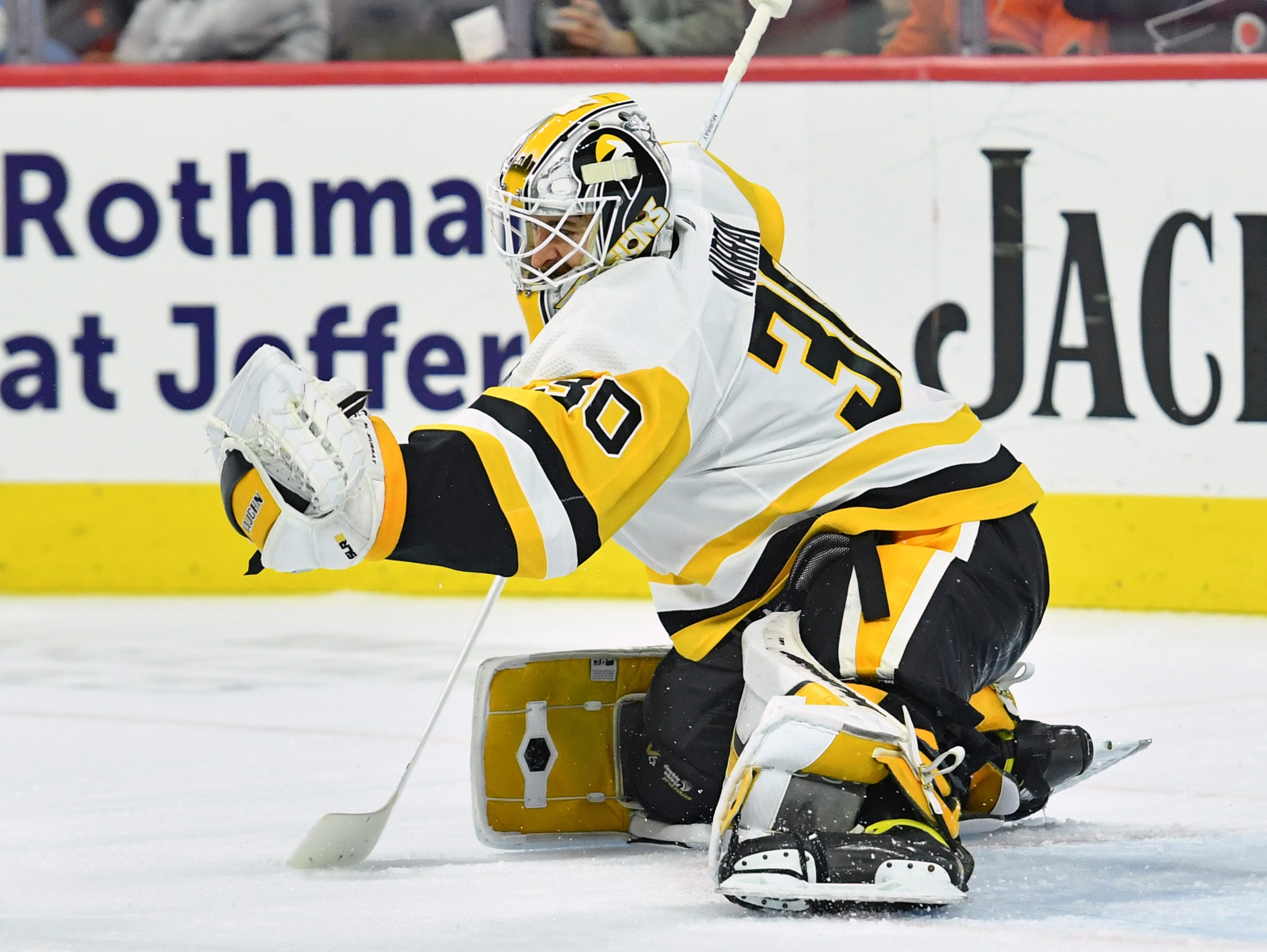 Feb. 11: Pittsburgh Penguins goaltender Matt Murray makes one of his 50 saves in a 4-1 victory against the Philadelphia Flyers.