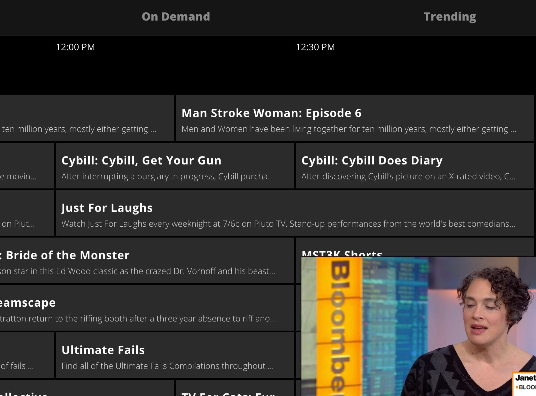 Pluto.tv offers a TV like menu with live programming