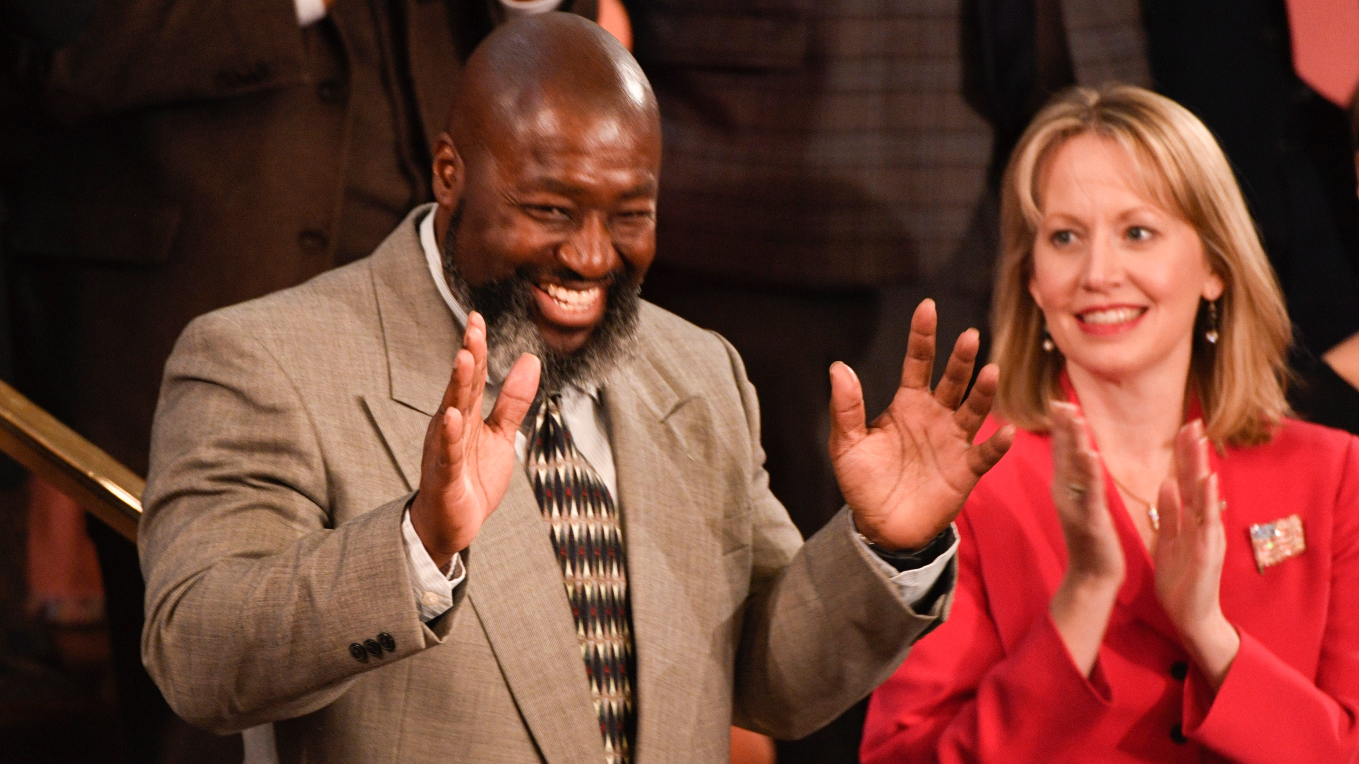 Matthew Charles is recognized by President Donald Trump during the State of the Union address.