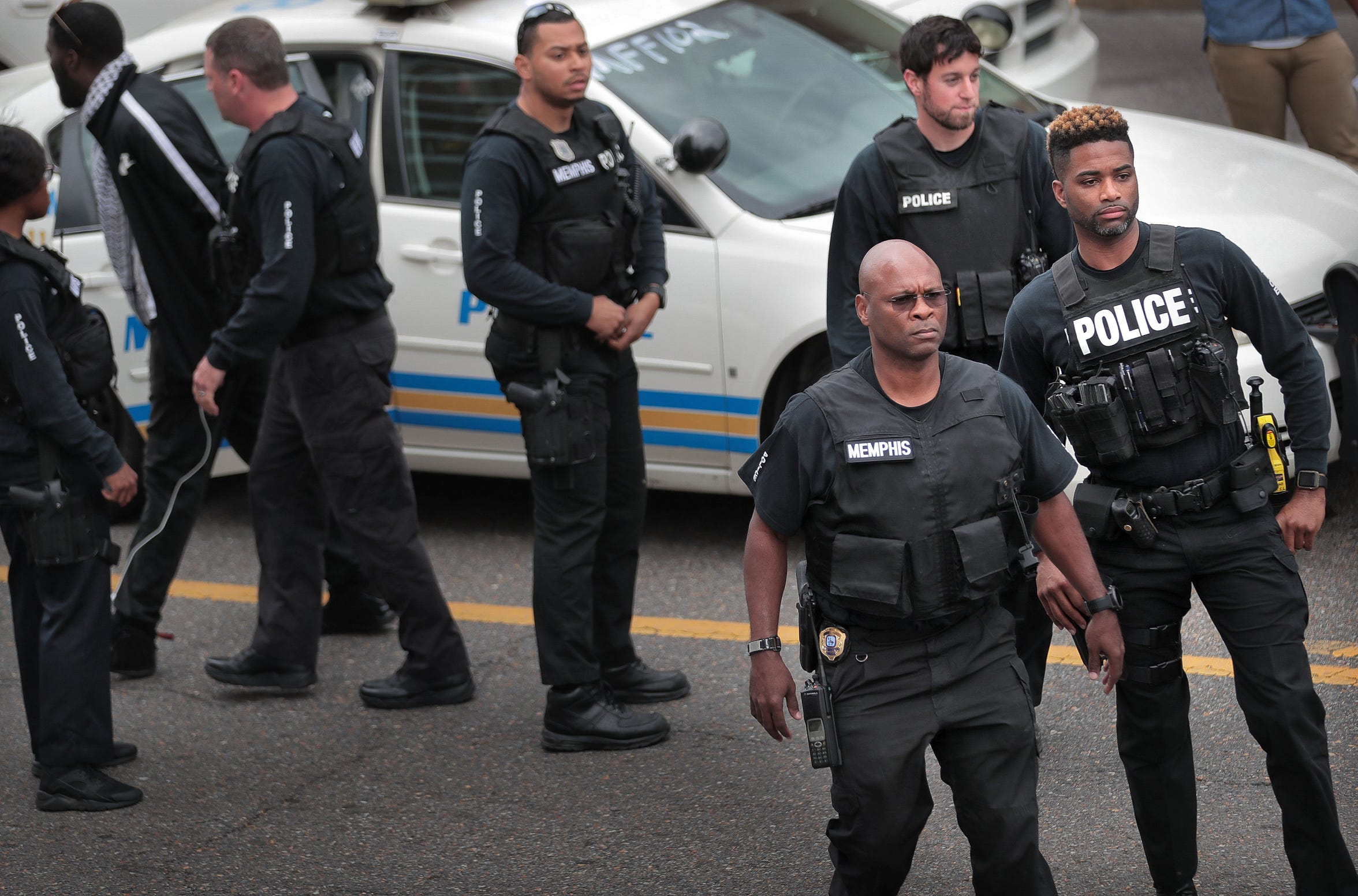 Memphis police officers assembled outside the Shelby County Justice Center during a demonstration in April 2018.
