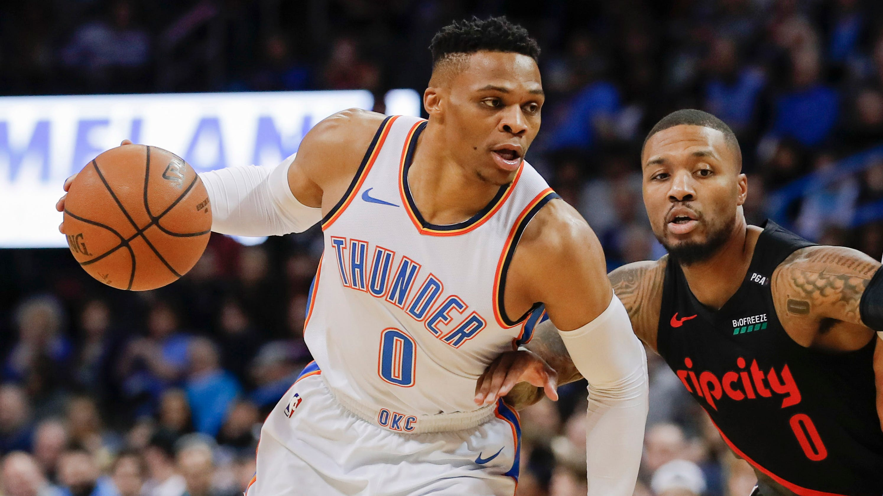 bd91d967b41 Russell Westbrook sets NBA record with 10th straight triple-double