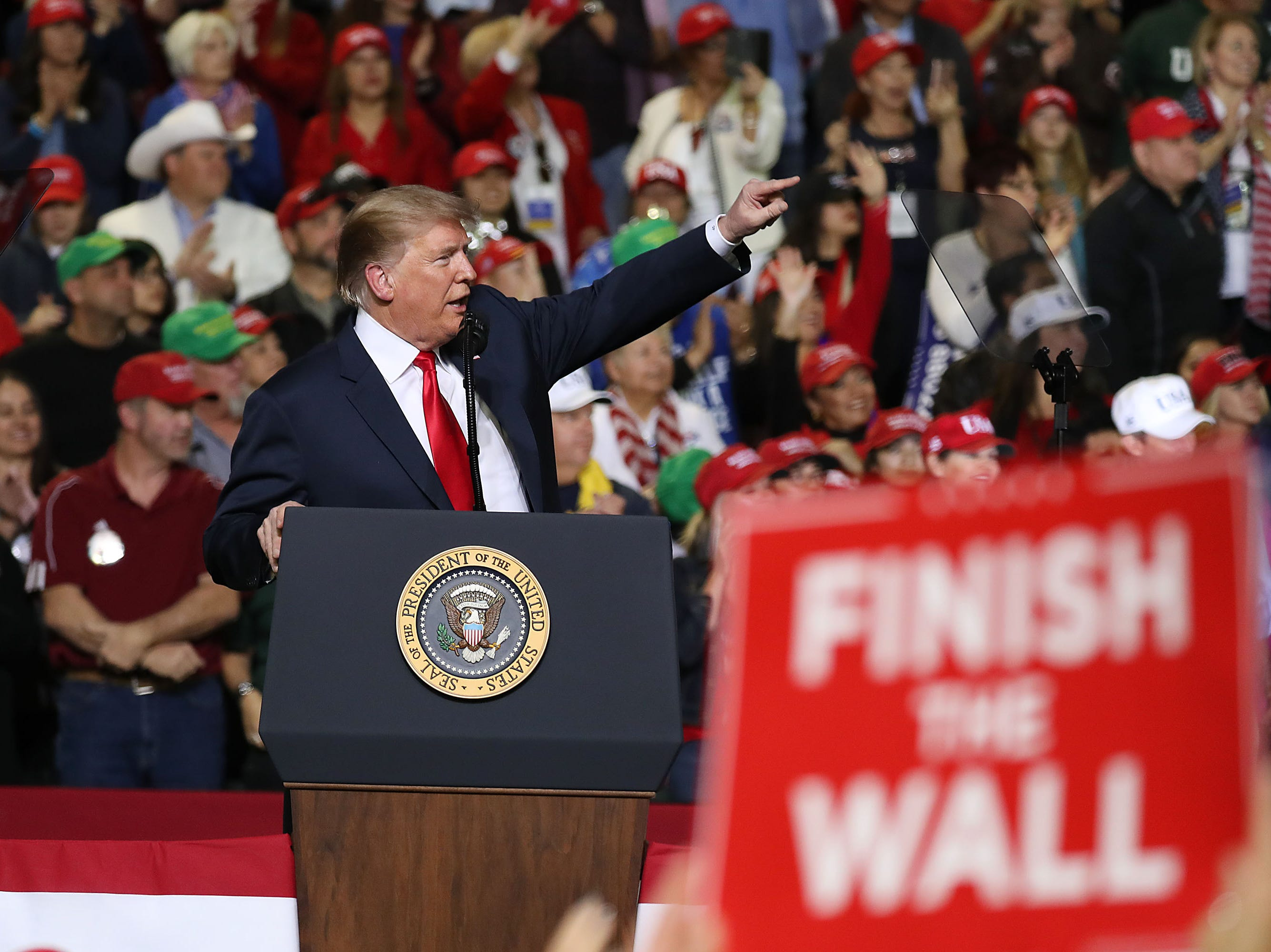 President Trump speaks at a rally in El Paso, Texas.