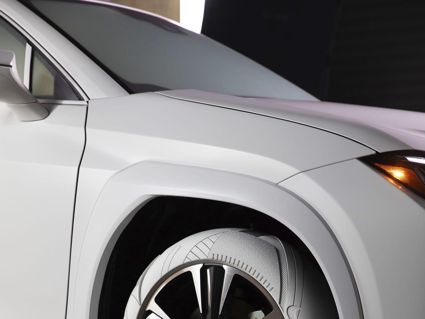 Custom tires inspired by John Elliott x Nike AF1 shoe.