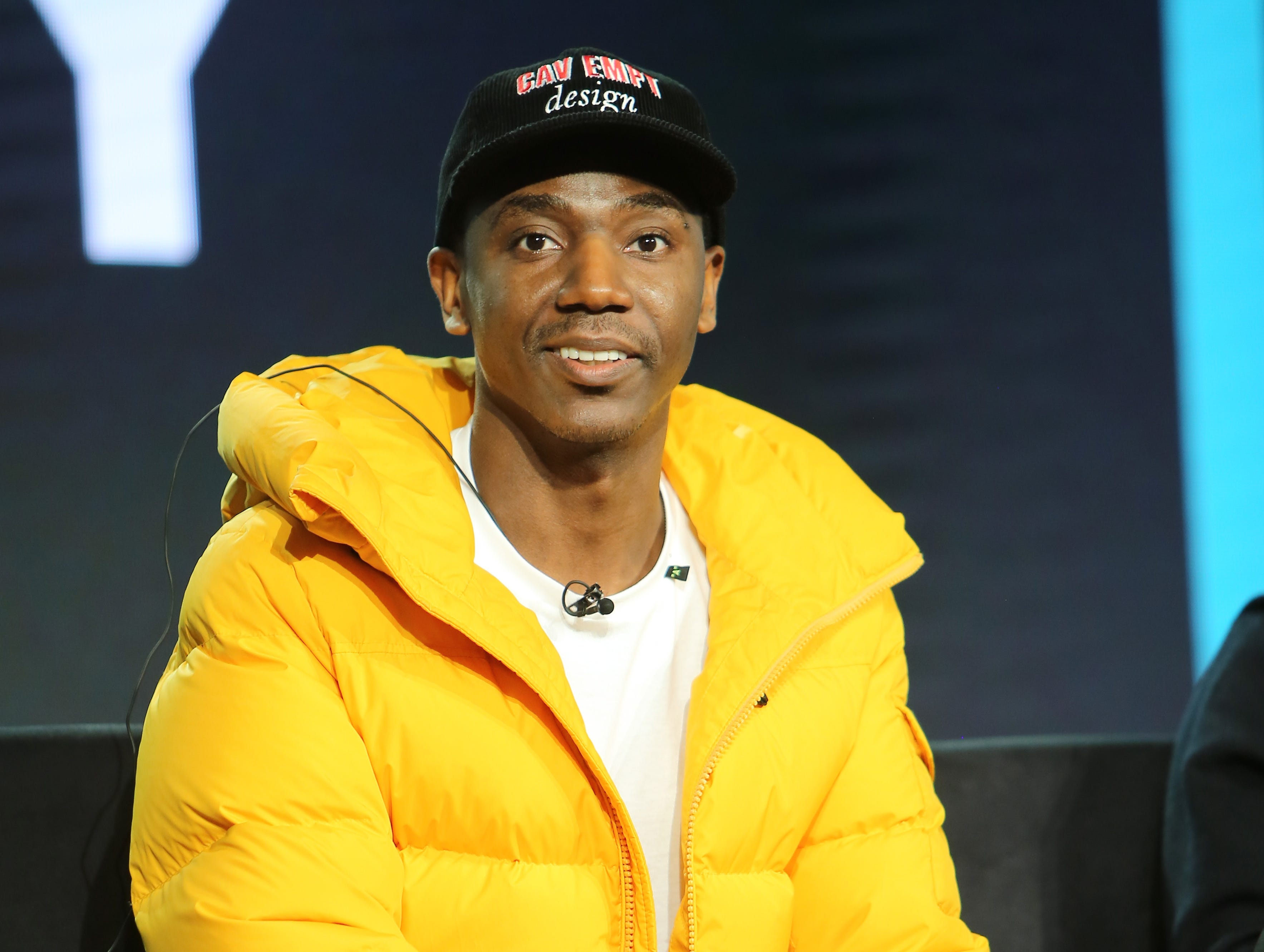 """Jerrod Carmichael takes a question about his new show """"Ramy"""" on Hulu."""