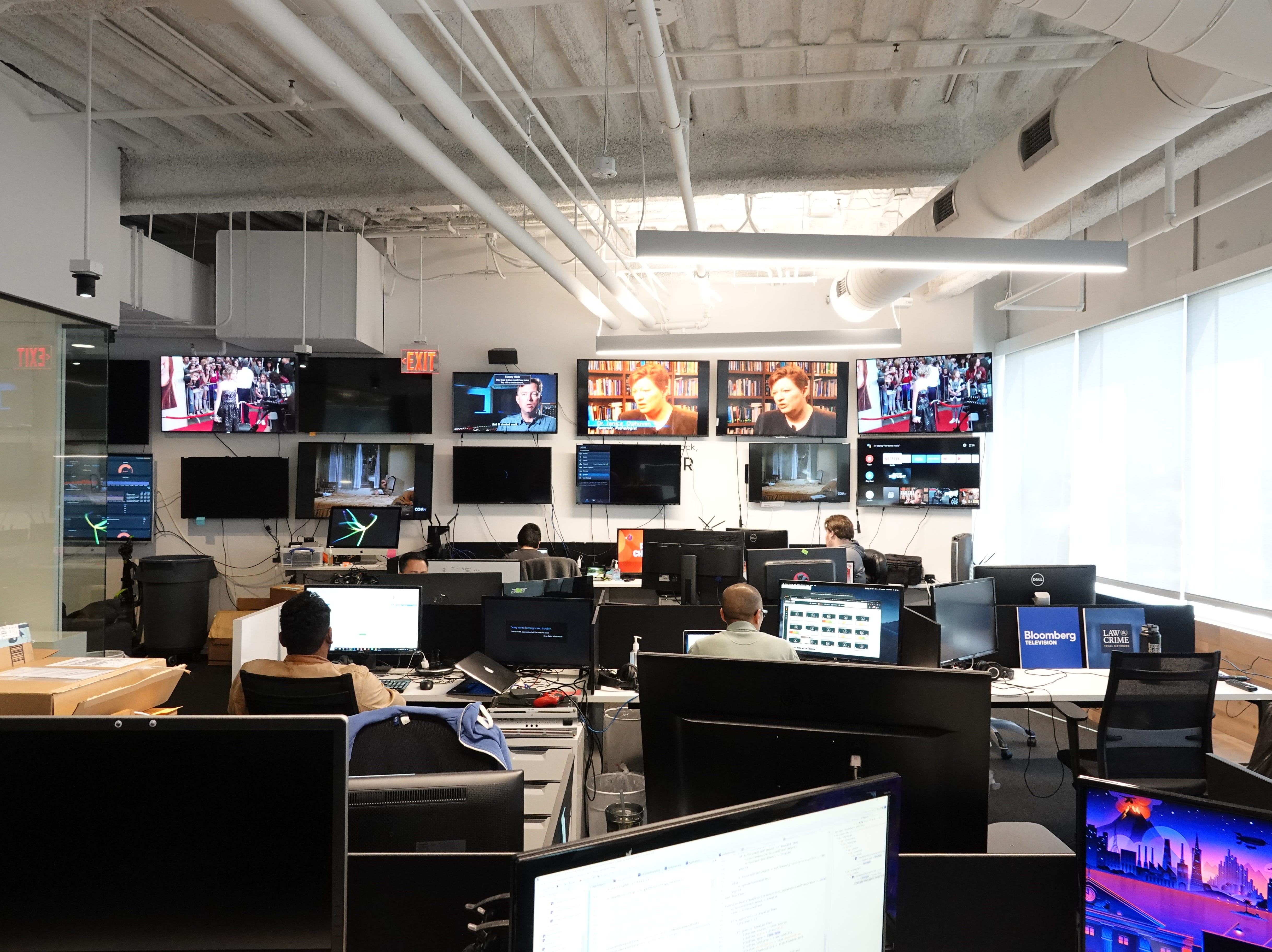 TVs flank the walls at Pluto.TV's headquarters in West Hollywood.