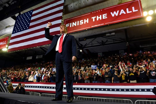 President Donald Trump arrives to speak at a rally in El Paso, Texas, Monday, Feb. 11, 2019.  (AP Photo/Susan Walsh) ORG XMIT: TXSW101