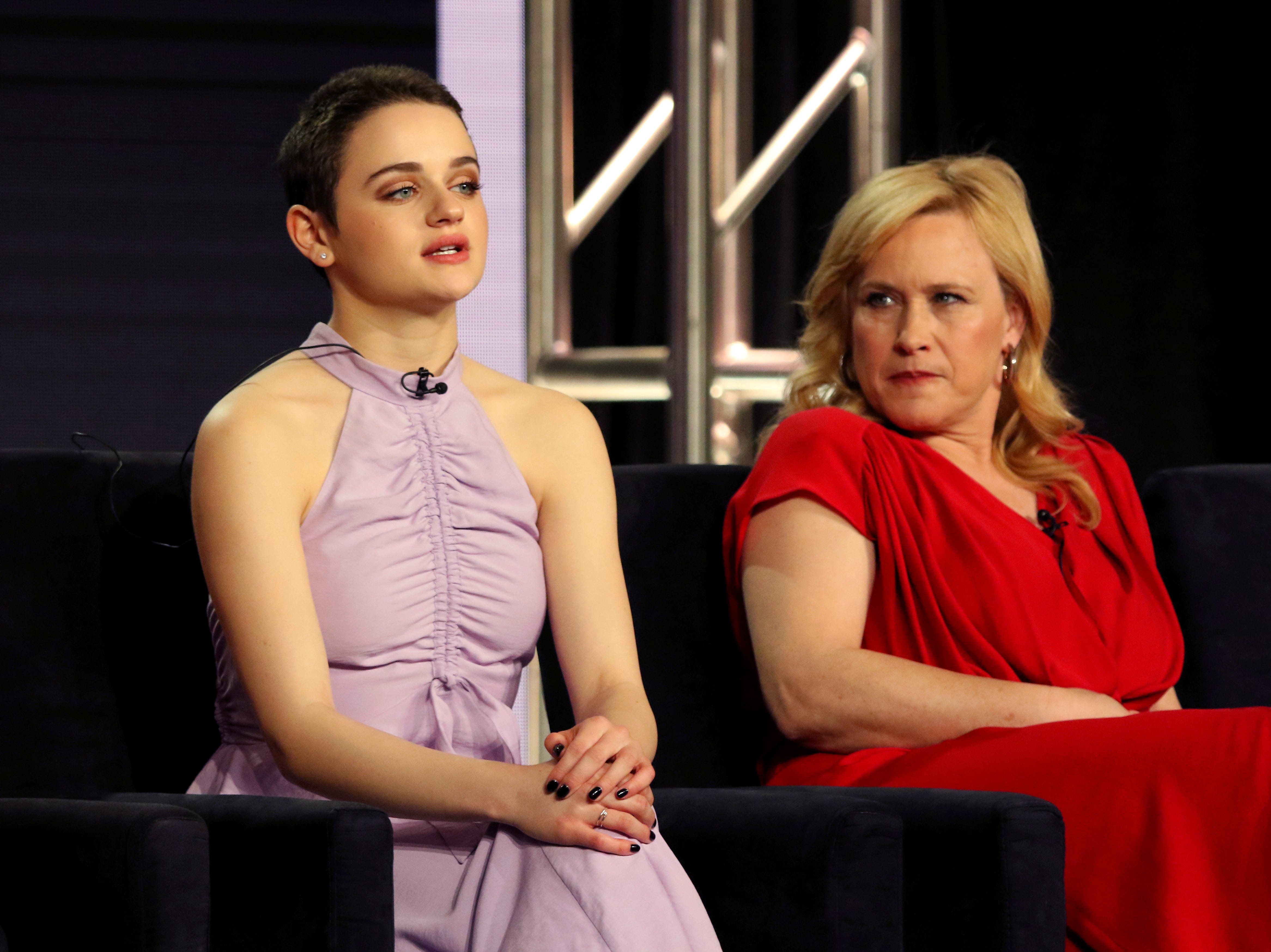 """Joey King, left, and Patricia Arquette participate in the panel for Hulu's """"The Act."""""""