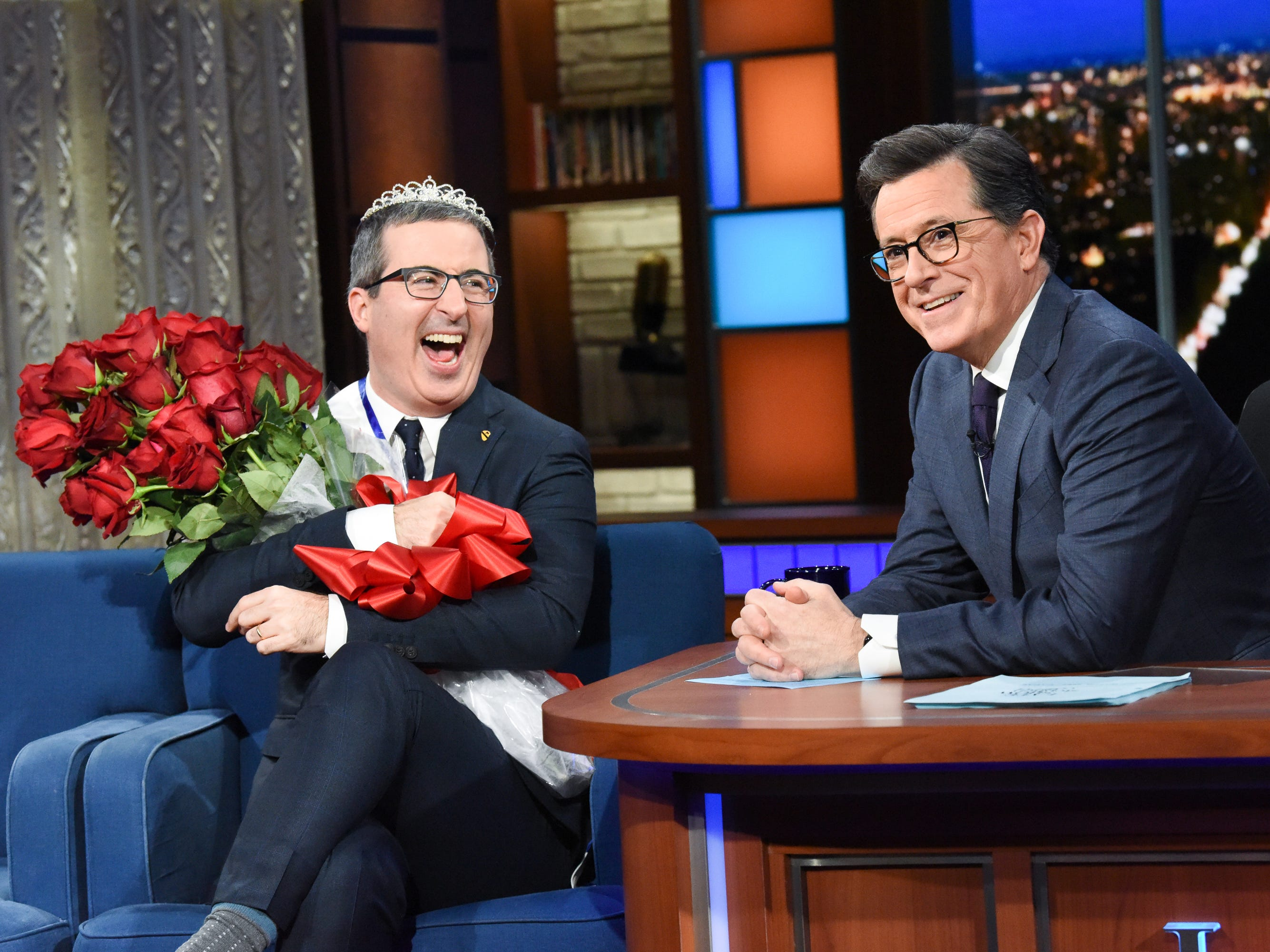 "That night, Colbert also made ""Last Week Tonight"" host and fellow ""Daily Show"" alumnus John Oliver feel like a beauty queen."