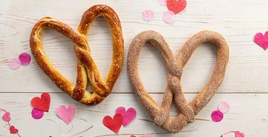 Auntie Anne's heart-shaped pretzels come in original and cinnamon sugar.