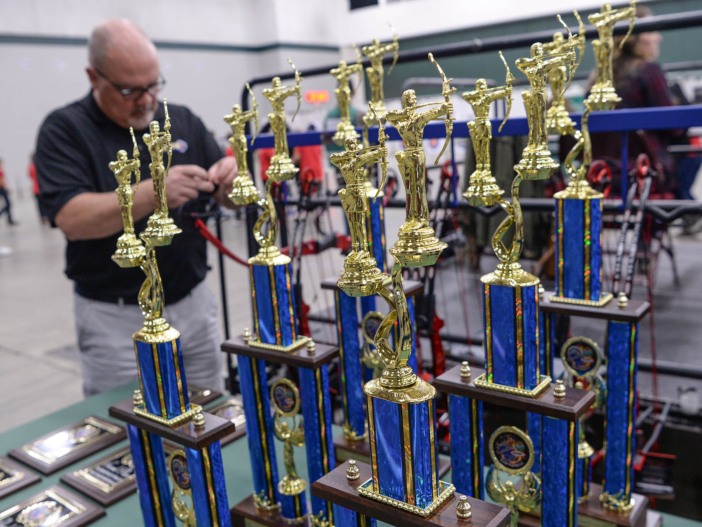 Trophies ready to be awarded during the South Carolina Department of Natural Resources regional National Archery in the Schools Program (NASP) regional competition at the Anderson Civic Center Wednesday.