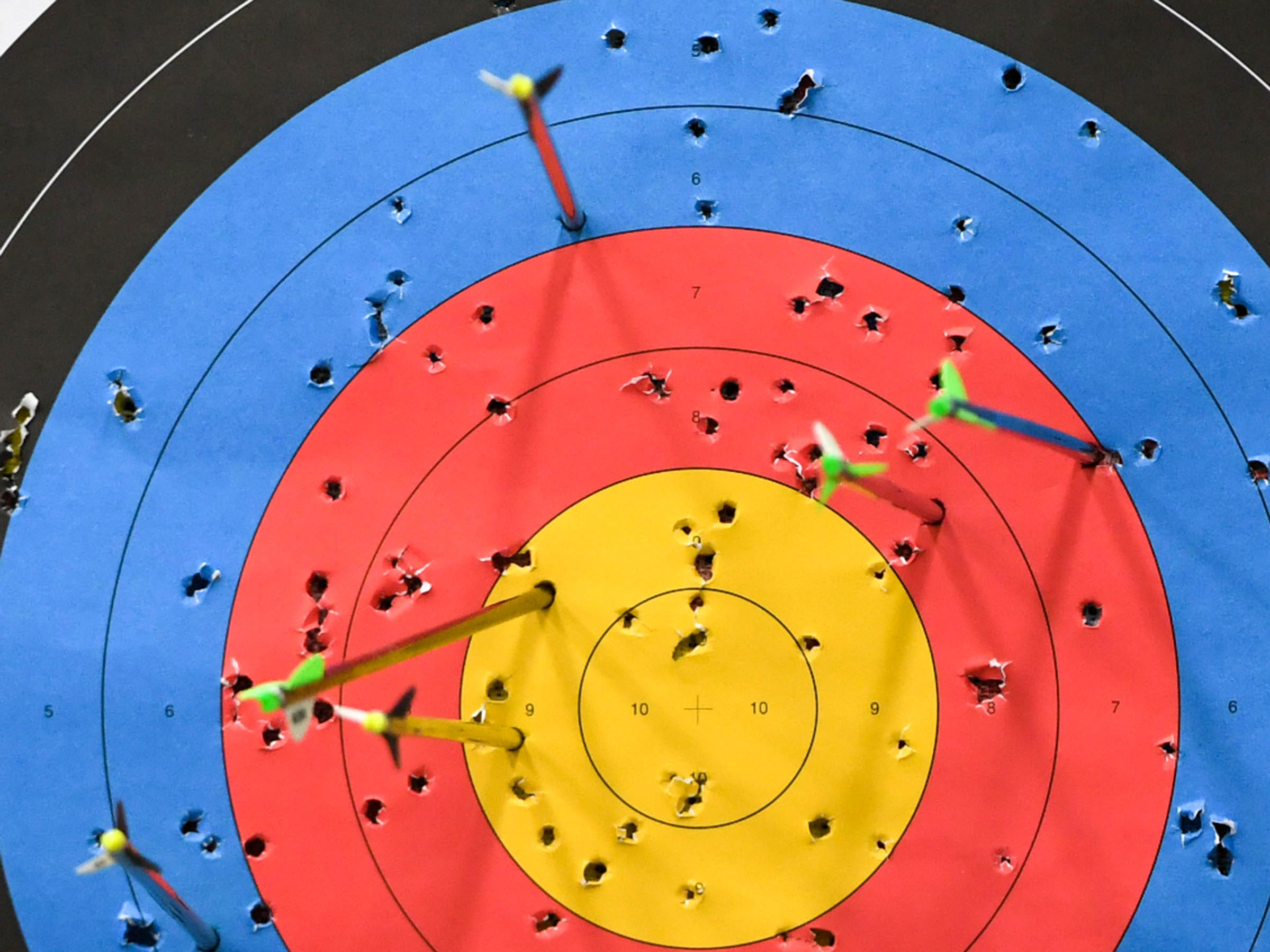 during the South Carolina Department of Natural Resources regional National Archery in the Schools Program (NASP) regional competition at the Anderson Civic Center Wednesday.  The program, which awards $50,000 in scholarships to high school seniors, is a joint venture between state departments of Education and Wildlife. The competition in Anderson, leading up to the state finals March 26-28 in Sumter, had 950 children from 14 elementary and 23 high schools around the state.