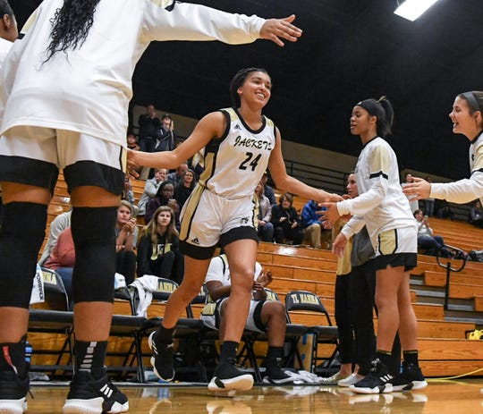 TL Hanna junior Maleia Bracone(24) is introduced before the game. Hanna defeated Hillcrest 53-42 during the first round of Class AAAAA state playoffs at T.L.Hanna High School in Anderson on Tuesday.