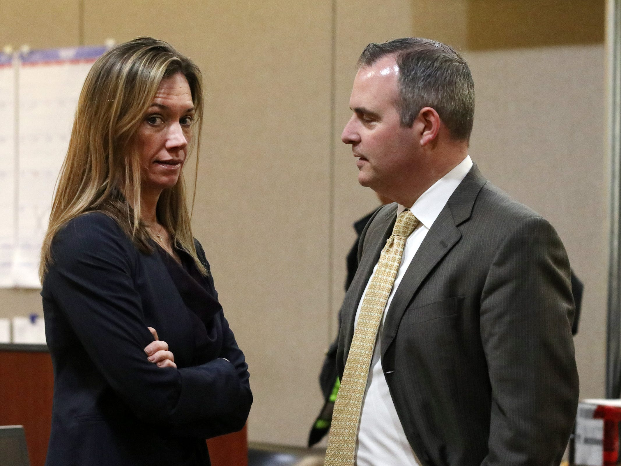 Monmouth County assistant prosecutors Meghan Doyle and Christopher Decker talk during a short recess in the trial of Liam McAtasney, who is charged with the murder of former high school classmate, Sarah Stern, before Superior Court Judge Richard W. English at the Monmouth County Courthouse in Freehold, NJ Wednesday, February 13, 2019. The jury was sent for the day after Carlos Diaz-Cobo, the defense attorney, made a motion for a mistrial over a post made on a juror's Facebook page.