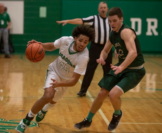 Brick's Shane Williams drives to the basic during first half action. Brick Memorial Boys Basketball vs Brick High School in Brick NJ on February 13, 2019.
