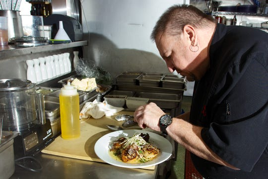 Chef Mike Jurusz in the kitchen of his South Seaside Park restaurant, Chef Mike's Atlantic Bar & Grill.