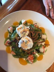 From Chef Bass, breakfast salad with lobster and poached eggs.