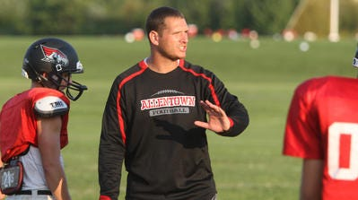 Former Allentown High School head coach Jay Graber, shown during an Allentown  practice in August, 2014, was named Matawan Regional's head football coach earlier this week.
