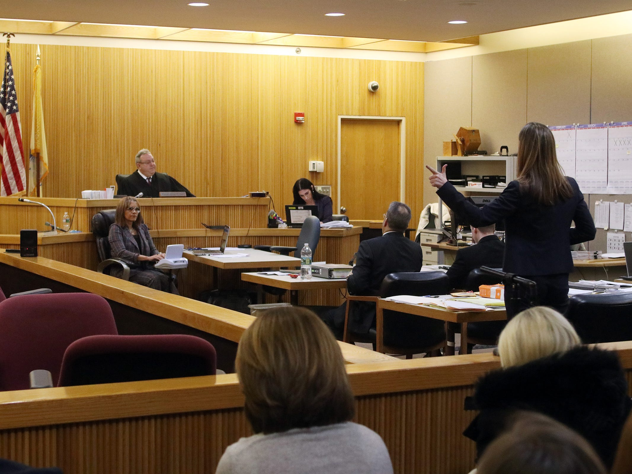 Meghan Doyle, Monmouth County assistant prosecutor, argues the merit of a motion made by Carlos Diaz-Cobo, defense attorney, during the trial of Liam McAtasney, who is charged with the murder of former high school classmate, Sarah Stern, before Superior Court Judge Richard W. English at the Monmouth County Courthouse in Freehold, NJ Wednesday, February 13, 2019. The jury was sent for the day after Carlos Diaz-Cobo, the defense attorney, made a motion for a mistrial over a post made on a juror's Facebook page.
