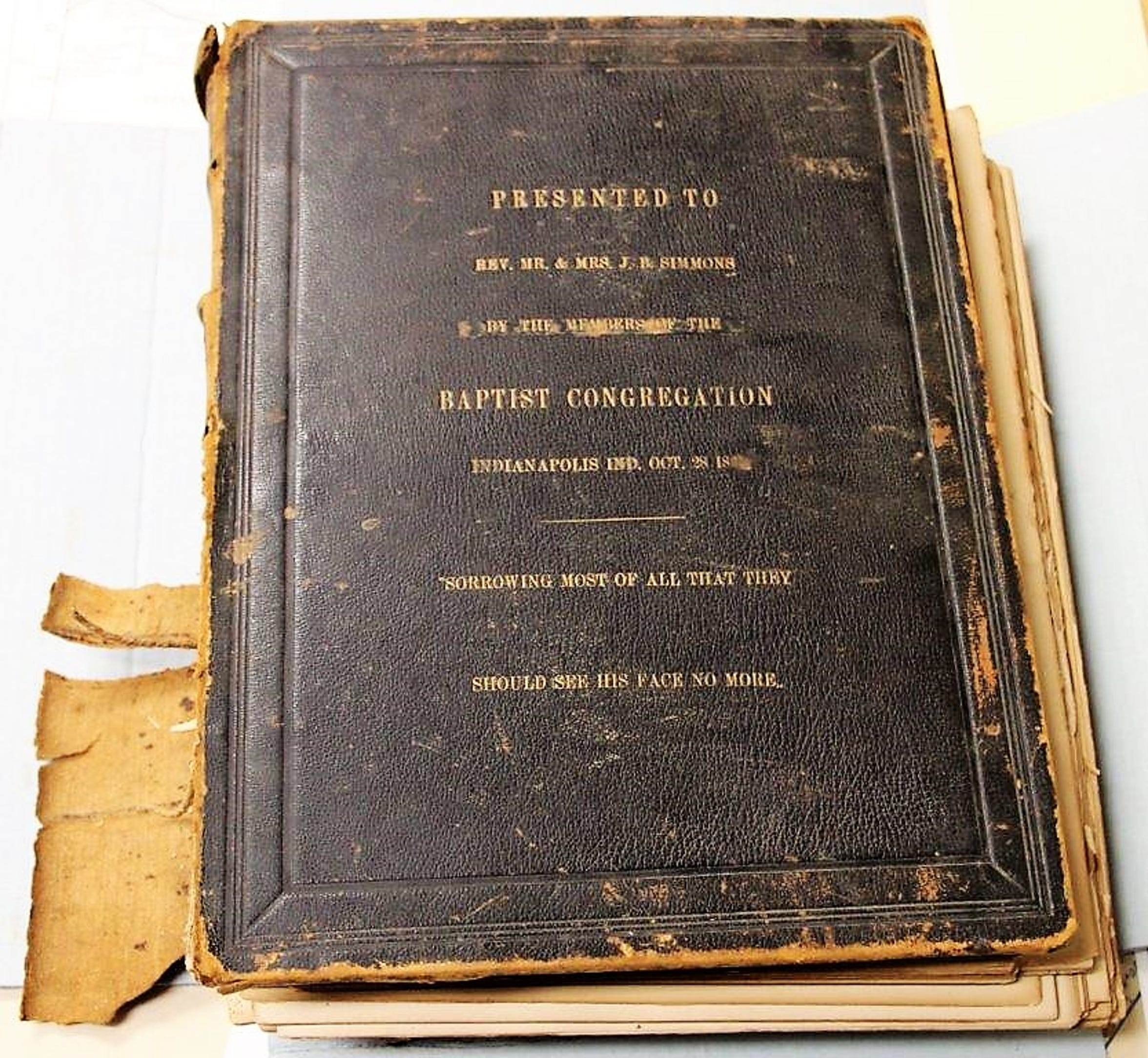 Bible presented to James B. Simmons and his wife, Mary, by his church in Indianapolis.