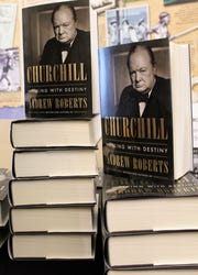 "Copies of ""Churchill: Walking With Destiny"" sold quickly after author Andrew Roberts' talk Tuesday in Abilene. His biography of the famed British prime minister has been called the best single-volume work yet."