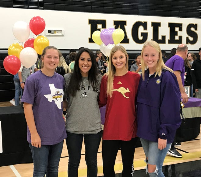 From left, Abilene High's Lauren Schaeffer (Hardin-Simmons tennis), Estefany Hernandez (ACU soccer), Allison Pierce (Austin College volleyball) and Hannah Vermillion (Hardin-Simmons tennis) signed Wednesday to play at the next level.