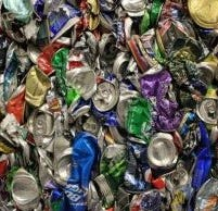 Crushed aluminum cans at the Curbside Management facility in north Asheville