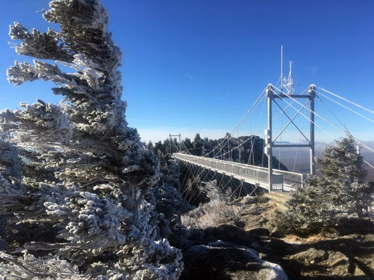 "Grandfather Mountain's ""Mile High Swinging Bridge."""