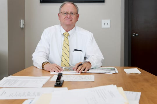 Buncombe County interim manager George Wood in his office in Asheville Jan. 22, 2019. Wood started after the abrupt departure of Mandy Stone, who was later indicted.