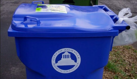 "Asheville's ""Big Blue"" recycling bins were part of its single-stream Zero Waste AVL program rolled out in 2012."