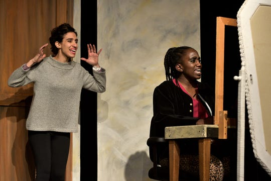 Lianne Aharony (Bea) and Tesia Kwarteng (Maddie) rehearse a scene from 'Three Decembers,' which will be staged by Tri-Cities Opera.