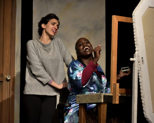 Lianne Aharony (Bea) and Tesia Kwarteng (Maddie) rehearse a scene from 'Three Decembers' with Tri-Cities Opera.