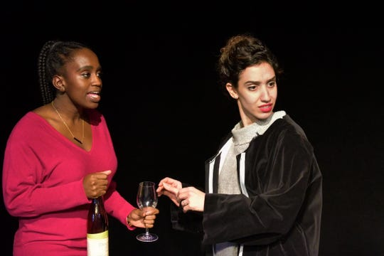 Tesia Kwarteng (Maddie) and Lianne Aharony (Bea) rehearse a scene from 'Three Decembers' with Tri-Cities Opera.