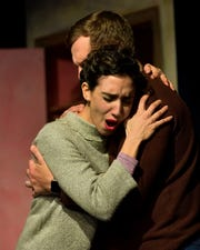 Lianne Aharony (Bea) embraces Aaron Stepanek (Charlie) in a scene for Tri-Cities Opera's 'Three Decembers.'