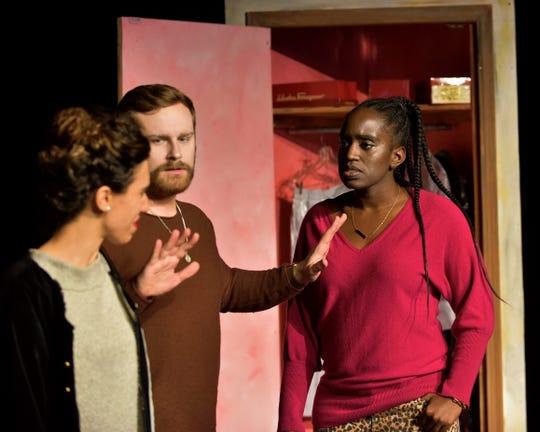 Lianne Aharony (Bea), Aaron Stepanek (Charlie) and Tesia Kwarteng (Maddie)  rehearses Tri-Cities Opera's 'Three Decembers.'