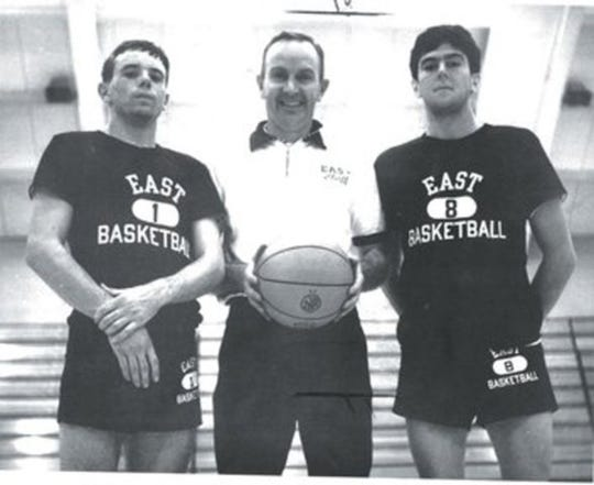 Dave Ryles (then known as Pyles), Coach Les Eathorne and Ben Manchion during their days at East High.