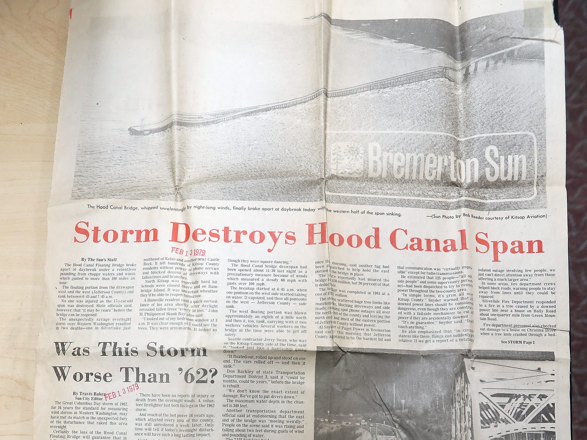 Feb. 13 1979 edition of the Bremerton Sun features articles about the storm that sunk the Hood Canal Bridge.