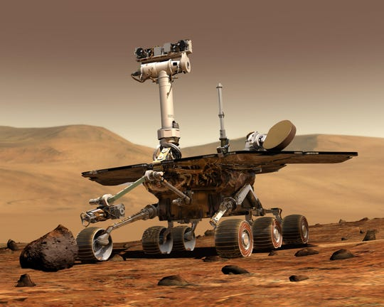Artist rendering of Opportunity, the second of the two rovers launched in 2003 to land on Mars and begin traversing the Red Planet in search of signs of past life. The rover far outlasted its planned 90-day mission.