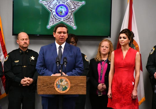 Governor Ron DeSantis, accompanied by First Lady Casey DeSantis and Andrew Pollack was in Brevard  Wednesday at the Deputy Barbara Pill Law Enforcement Facility in Titusville. Standing with Sheriff Wayne Ivey with Ivey's command staff behind them, Gov.  DeSantis issued an executive order with a series of steps designed to further improve safety in Florida's schools. Andrew Pollack's daughter Meadow was killed a year ago in the Parkland school shooting.